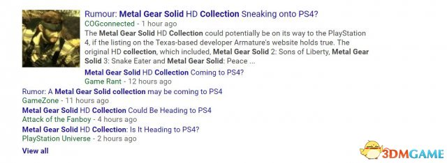 Armature已澄清 《合金装备HD合集》PS4版为谣传