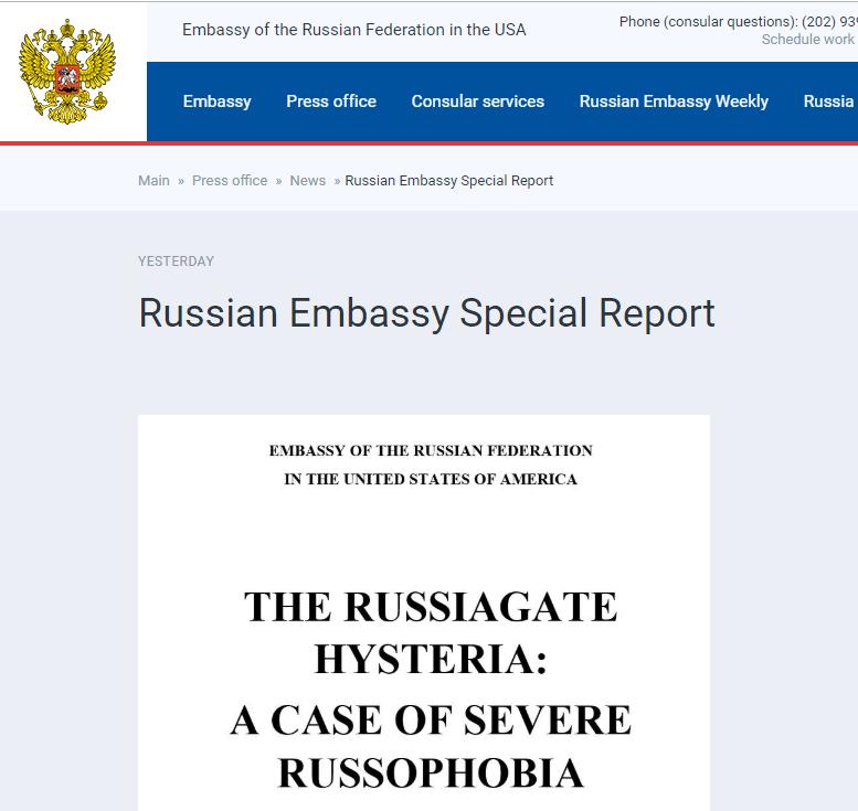 "haosf-俄媒:俄驻美大使馆发布120页报告,以反击""穆勒报告"""