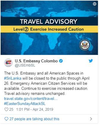 好私服-美国驻斯里兰卡使馆宣布:4月24至26日闭馆